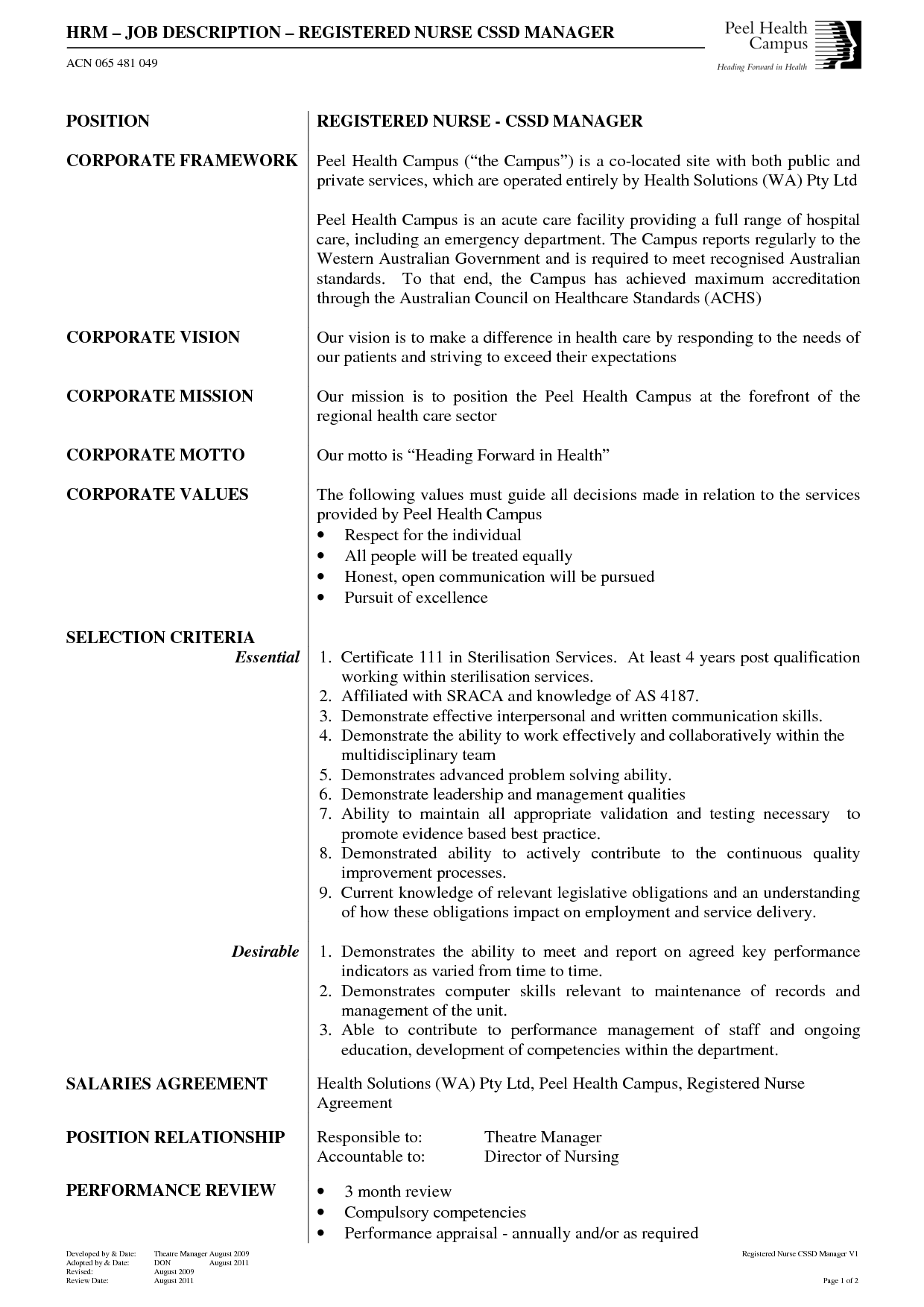 HRM Job description and Neonatal Nursing Registered CSSD manager Job Description