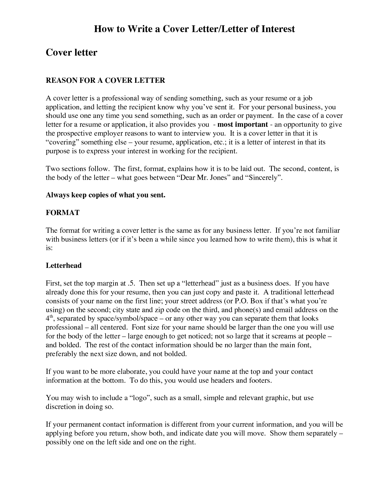 How To Wrie A Cover Letter of interest or Basic Letter of Interest resume template