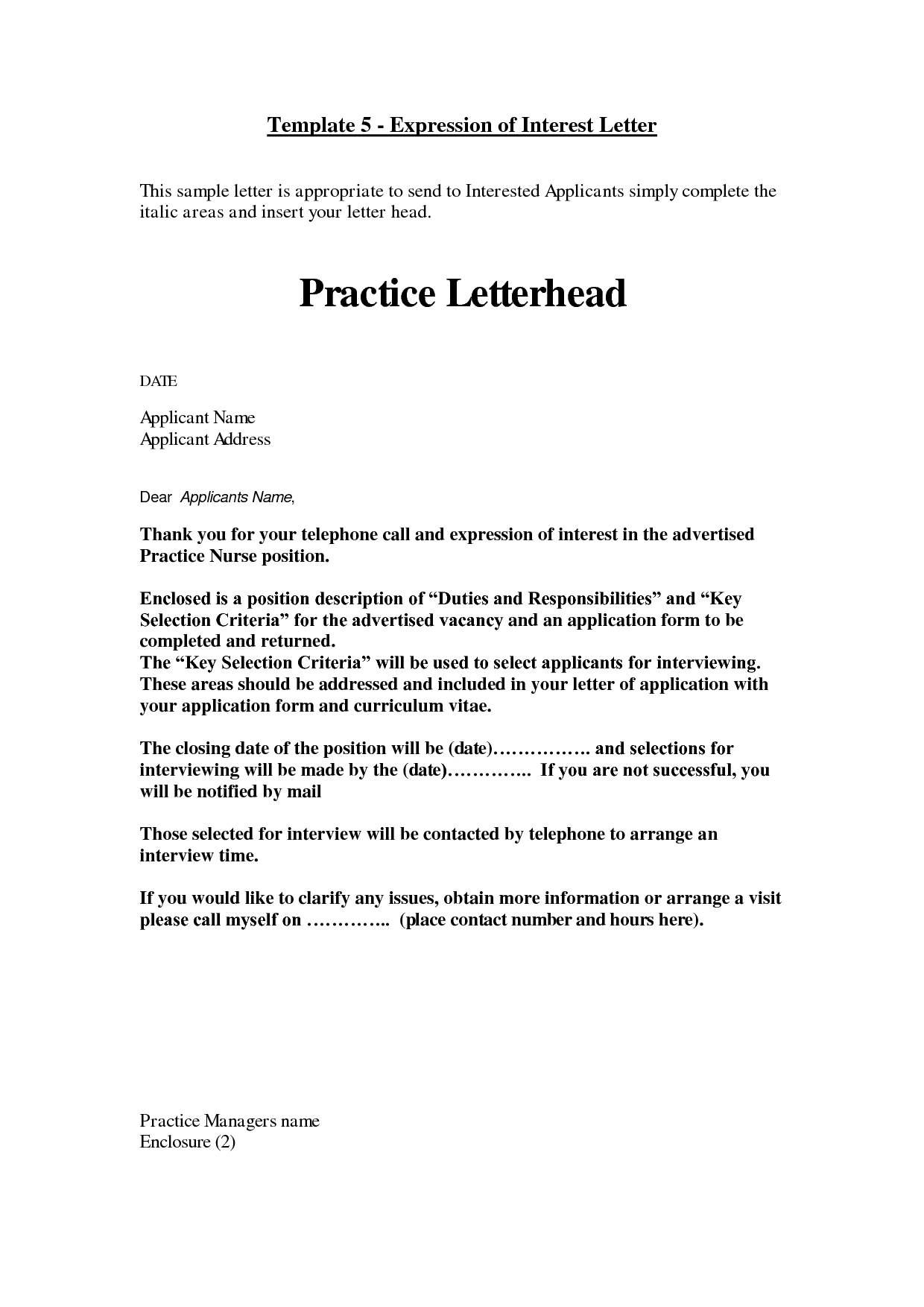 Business Letter of Interest