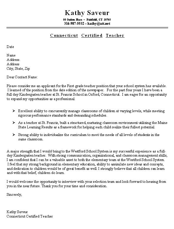 Info Needed for Resume sample resume cover letter for teacher 2016 ...