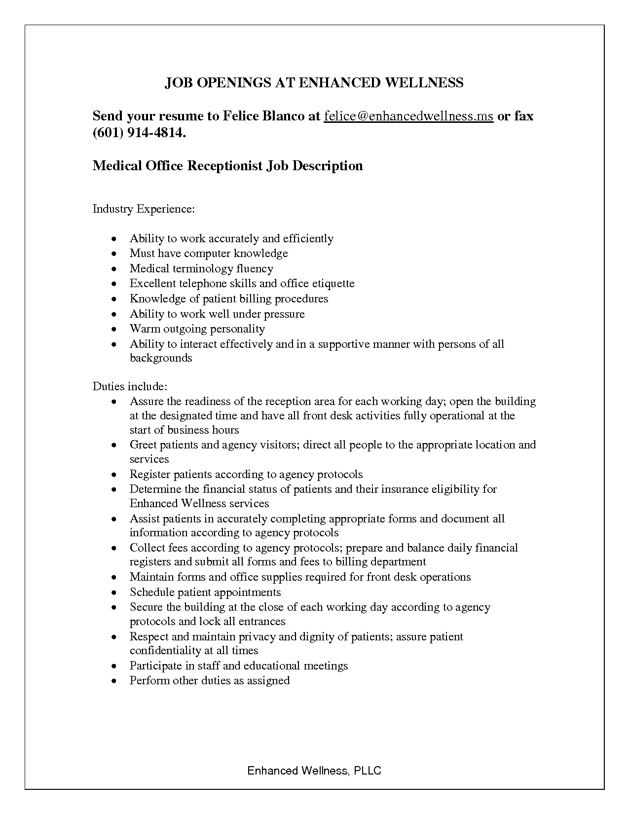 job opening resume for ofice receptionist job description