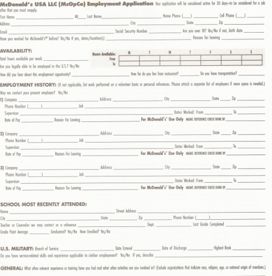 Job Openings at McDonald's Employment application form