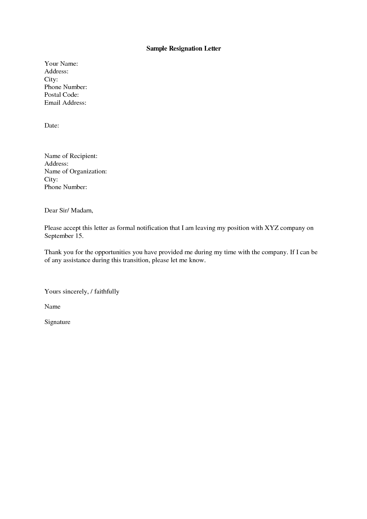 Job Resignation Letter Sample Short and Sweet Resignation Letter