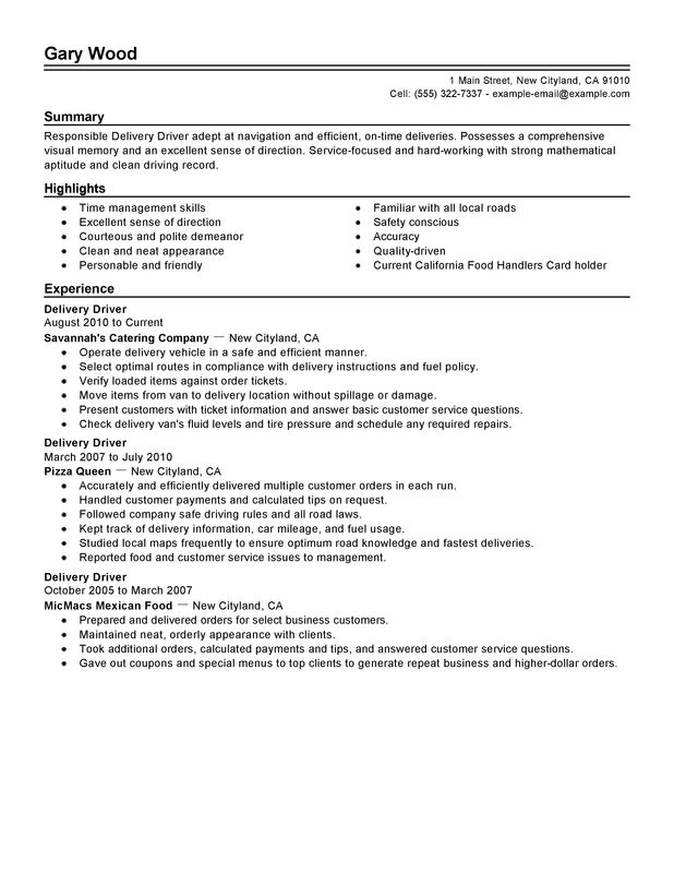 KFC Jobs For Delivery Driver Food And Restaurant Resume Sample  Restaurant Resume Samples