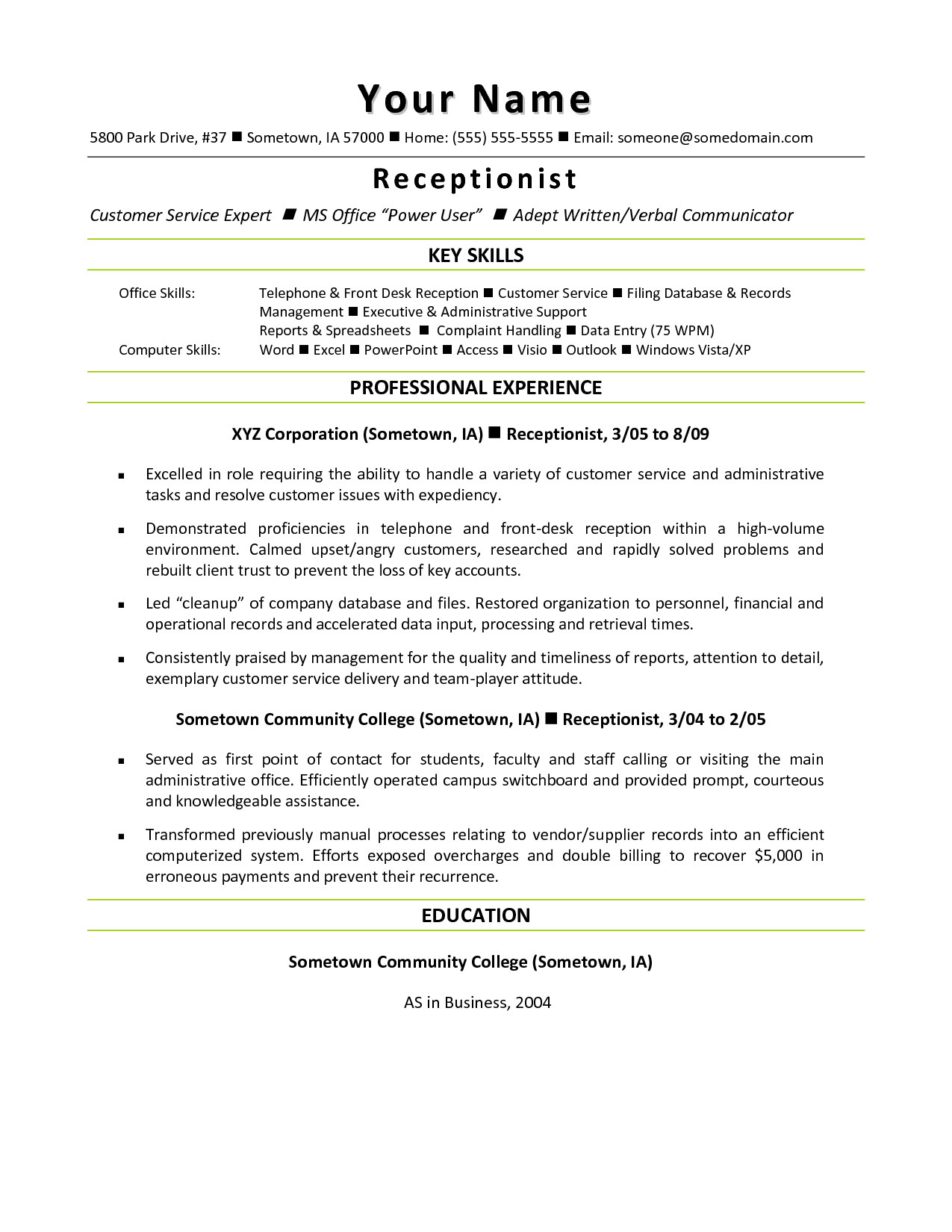 Law Front Office Receptionist Resume Key skills and professional – Receptionist Resume Templates