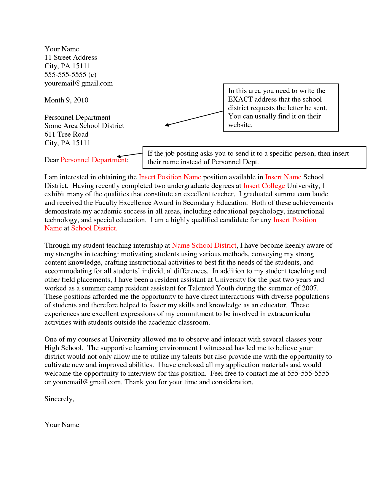 Letter Of Interest Cover Letter Sample Letters of Interest for Job Openings