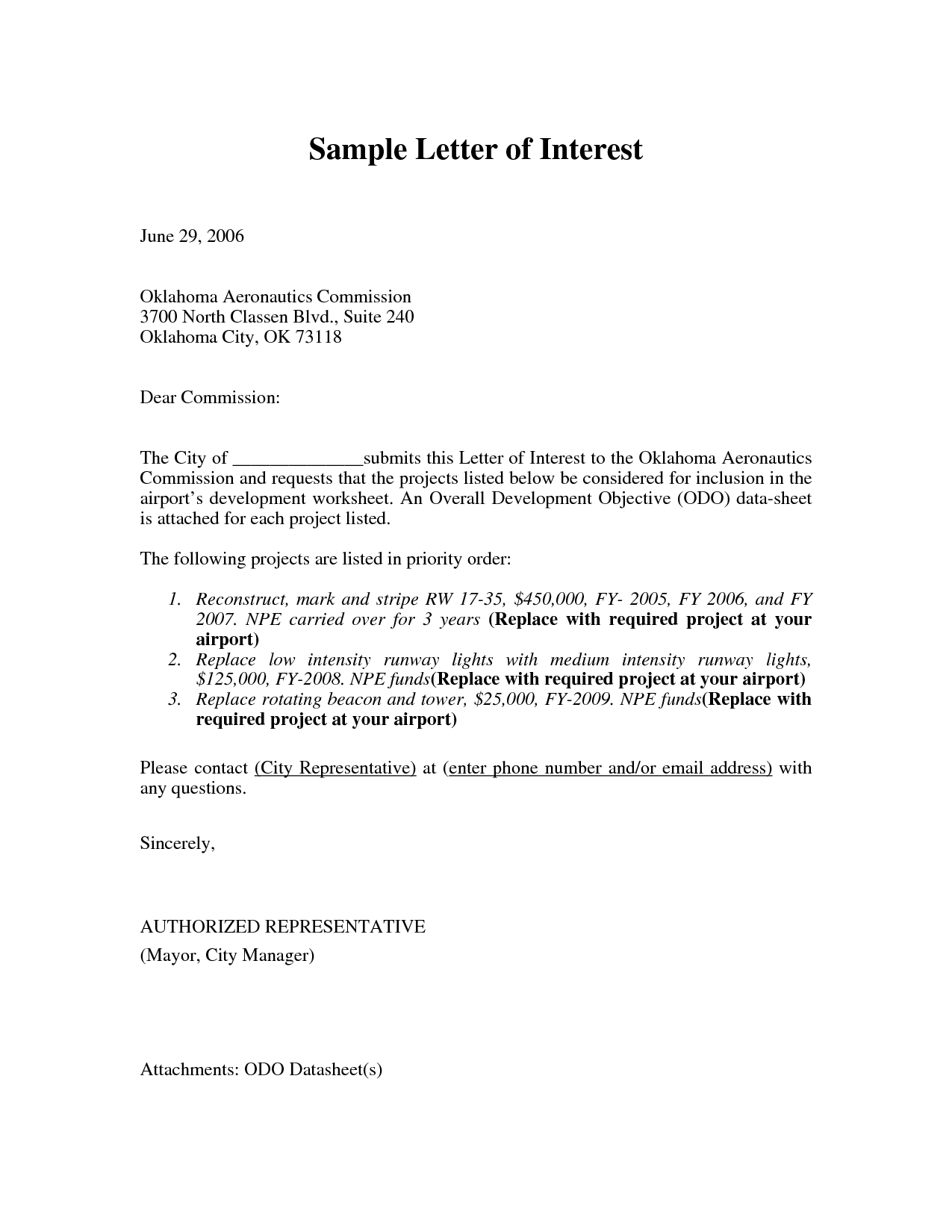Letter of Interest Internal Position Sample and Letter of interest templates