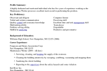 Maintenance worker resume example profile summary with five years ...