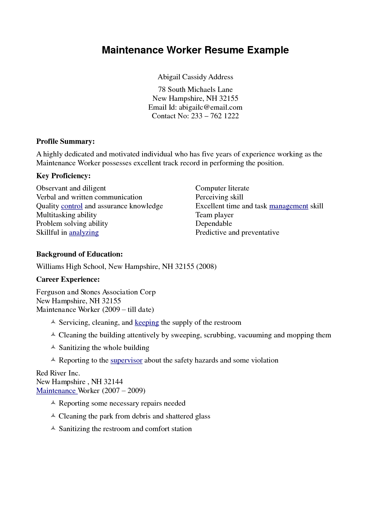 Maintenance worker resume example profile summary with