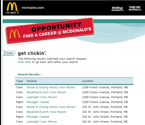 McDonald's Part Time Job Application