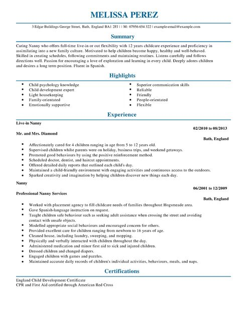 sample resume of a nanny
