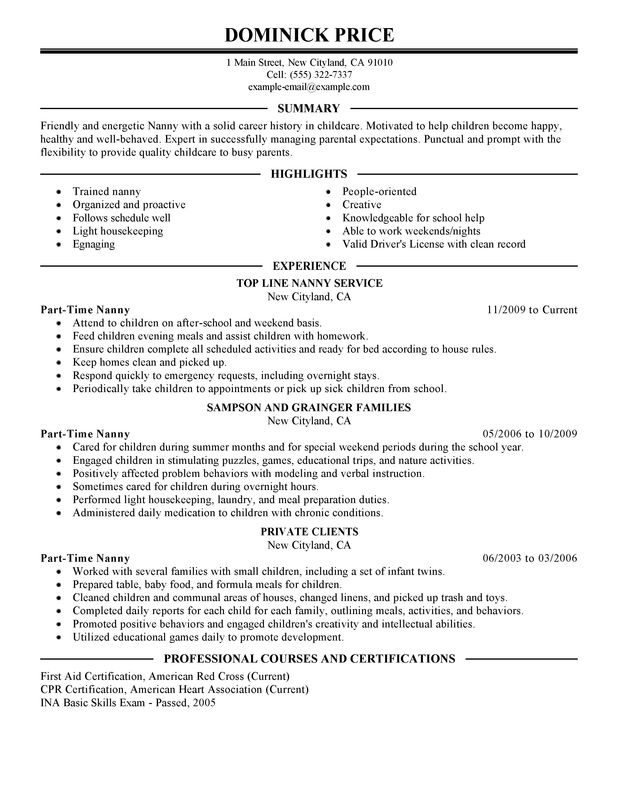nanny personal care and services part time nanny resume sample - Nanny Resumes Samples