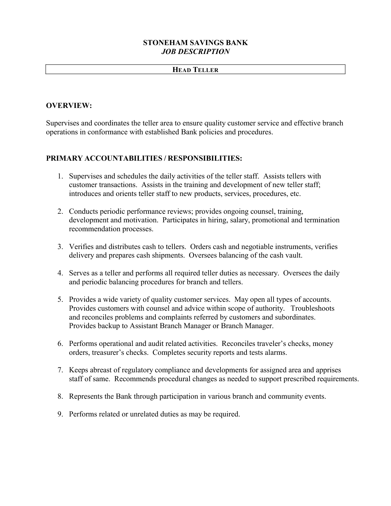 bank teller job description template