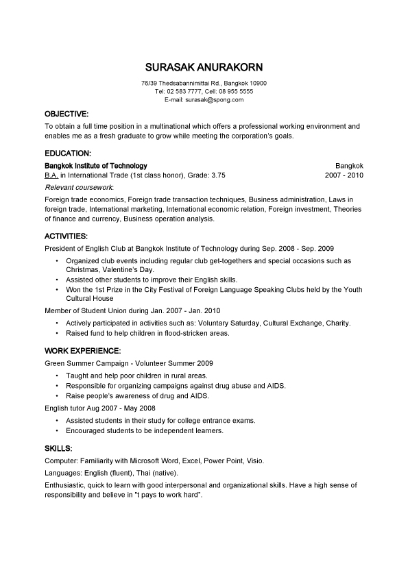 objective basic resume samples for thailand employer - International Business Resume Objective