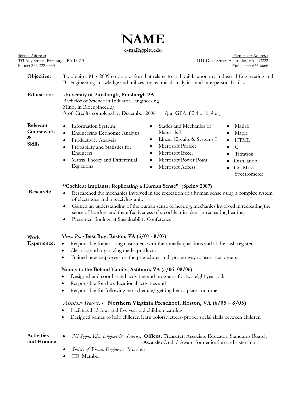 Objective for Nanny Resume and Nanny Care Description for Resume sample