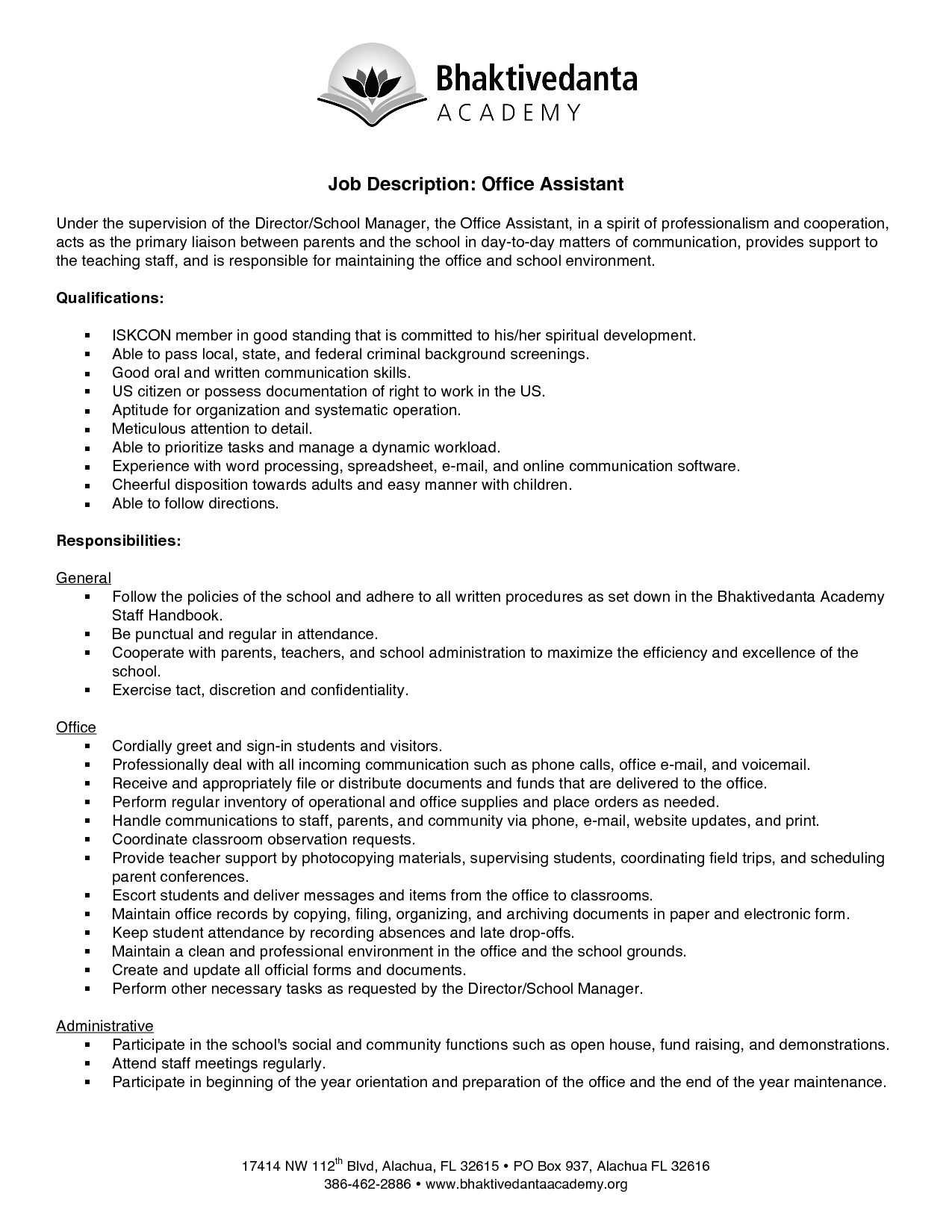 Office assistant job description resume 2016 - Office administration executive job description ...