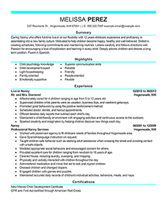 professional nanny resume images for modern nanny resume example