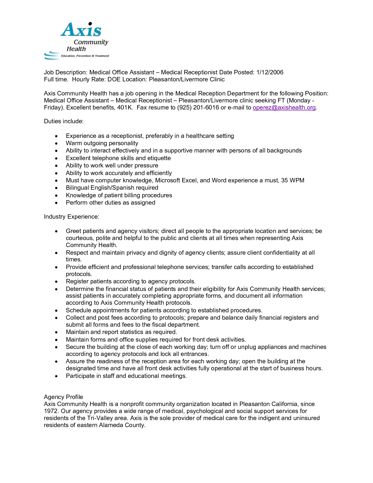 Receptionist Resume Duties Medical Receptionist Job Description