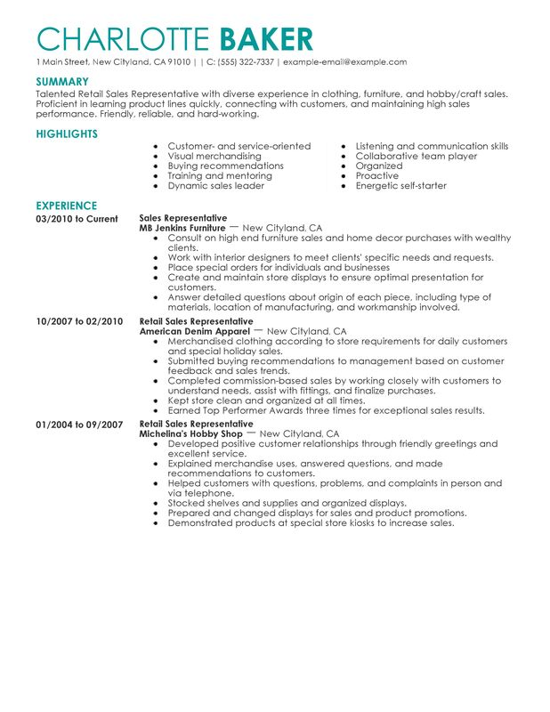 Rep Retail Sales Resume Sample customer service store manager – Retail Resume Template