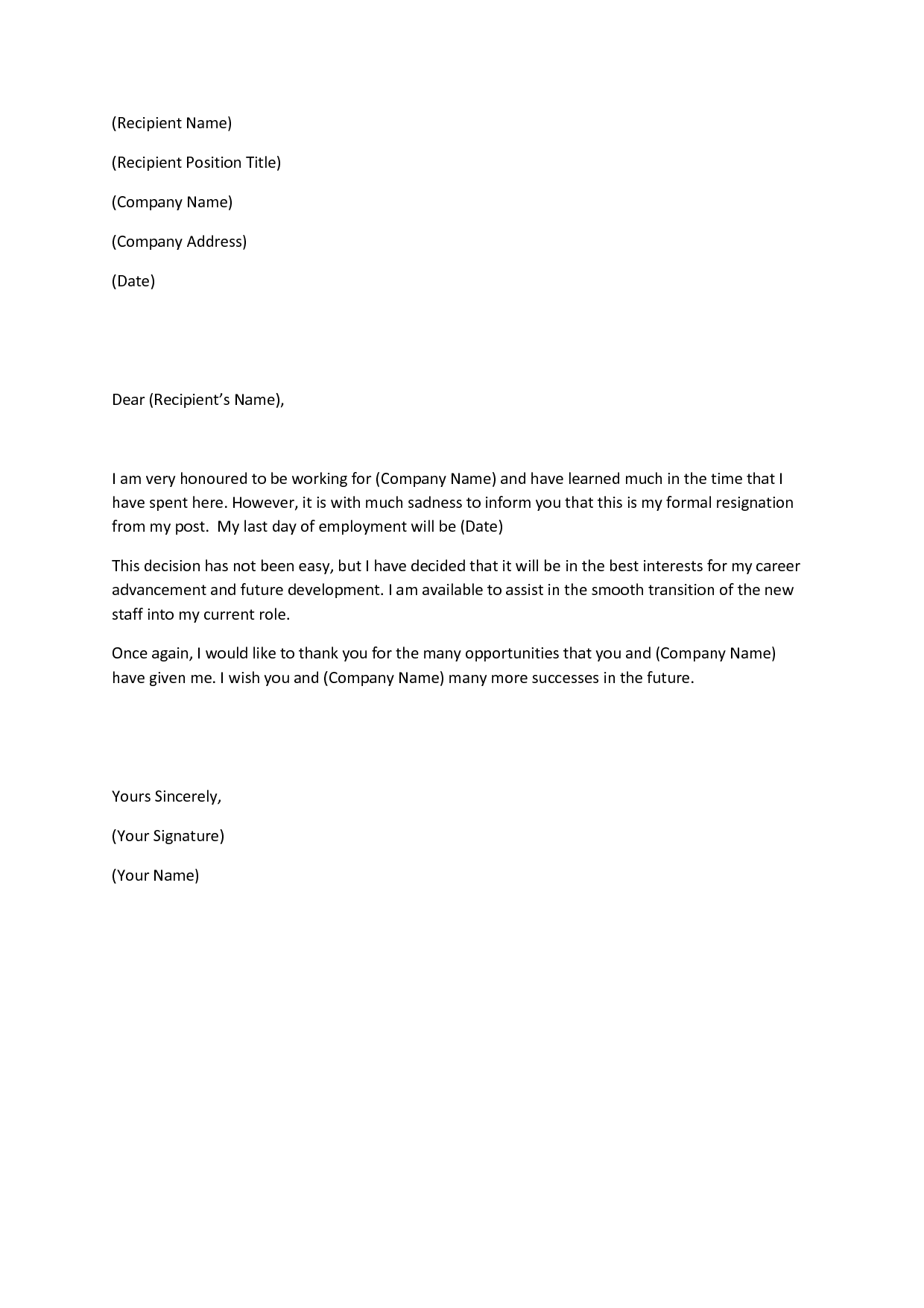 Resignation Letter Short Template Samplebusinessresume
