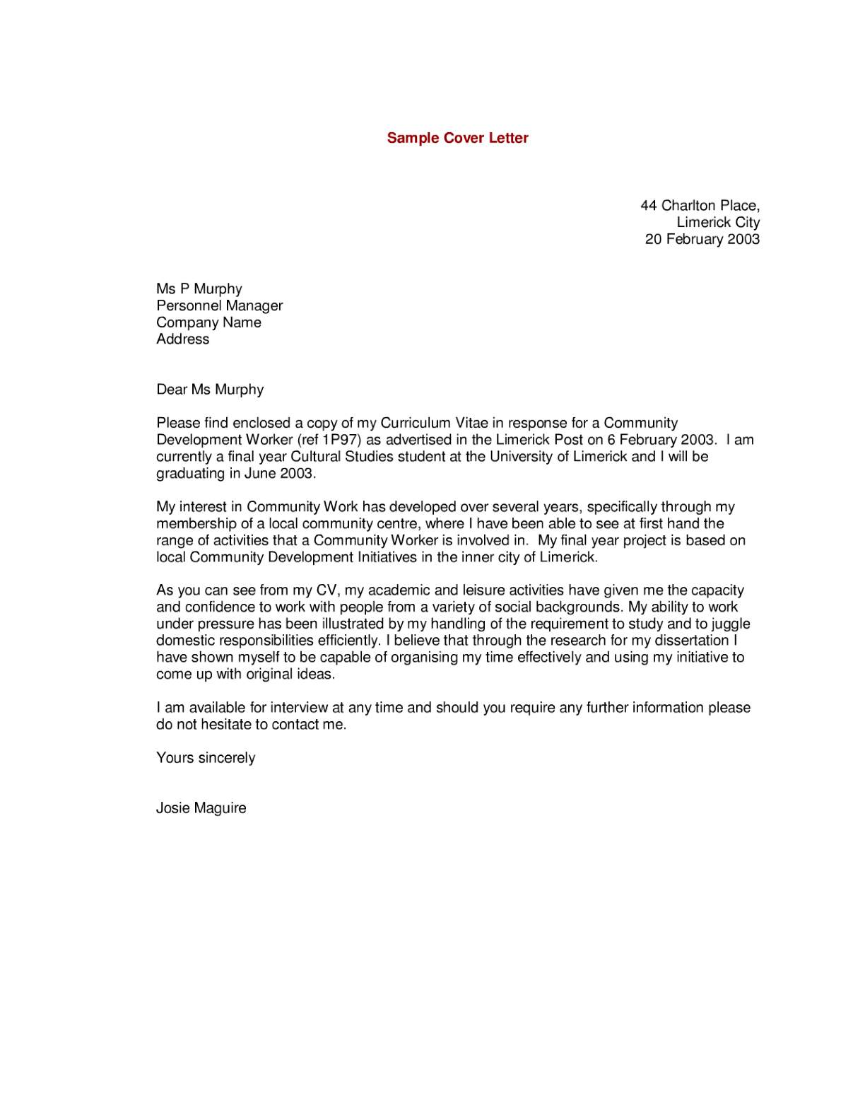 letter for resume - Cover Letters With Resume