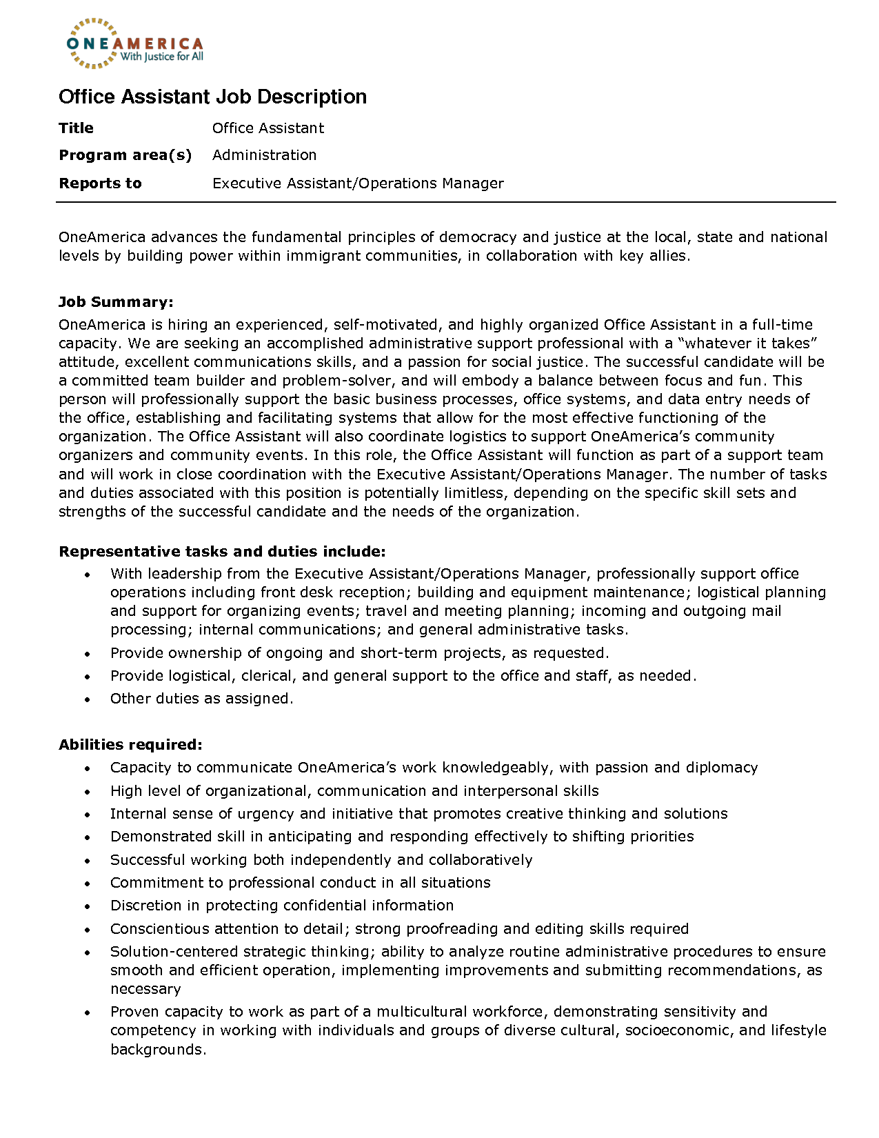 office assistant job description resume 2016