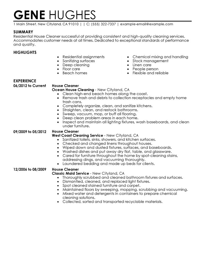 Resume for a House professional Cleaner residential house cleaner experience
