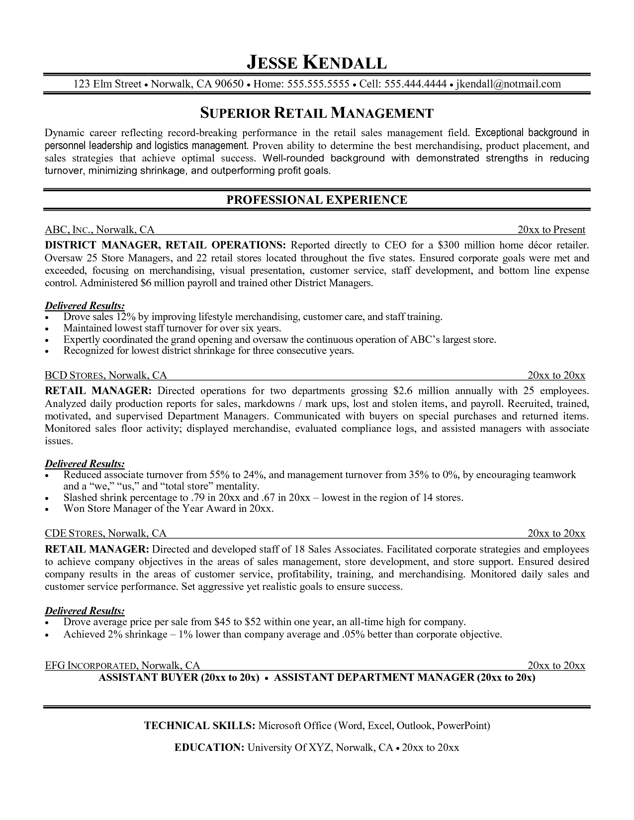 Retail management resume examples retail resume objective for Sample resume for assistant manager in retail