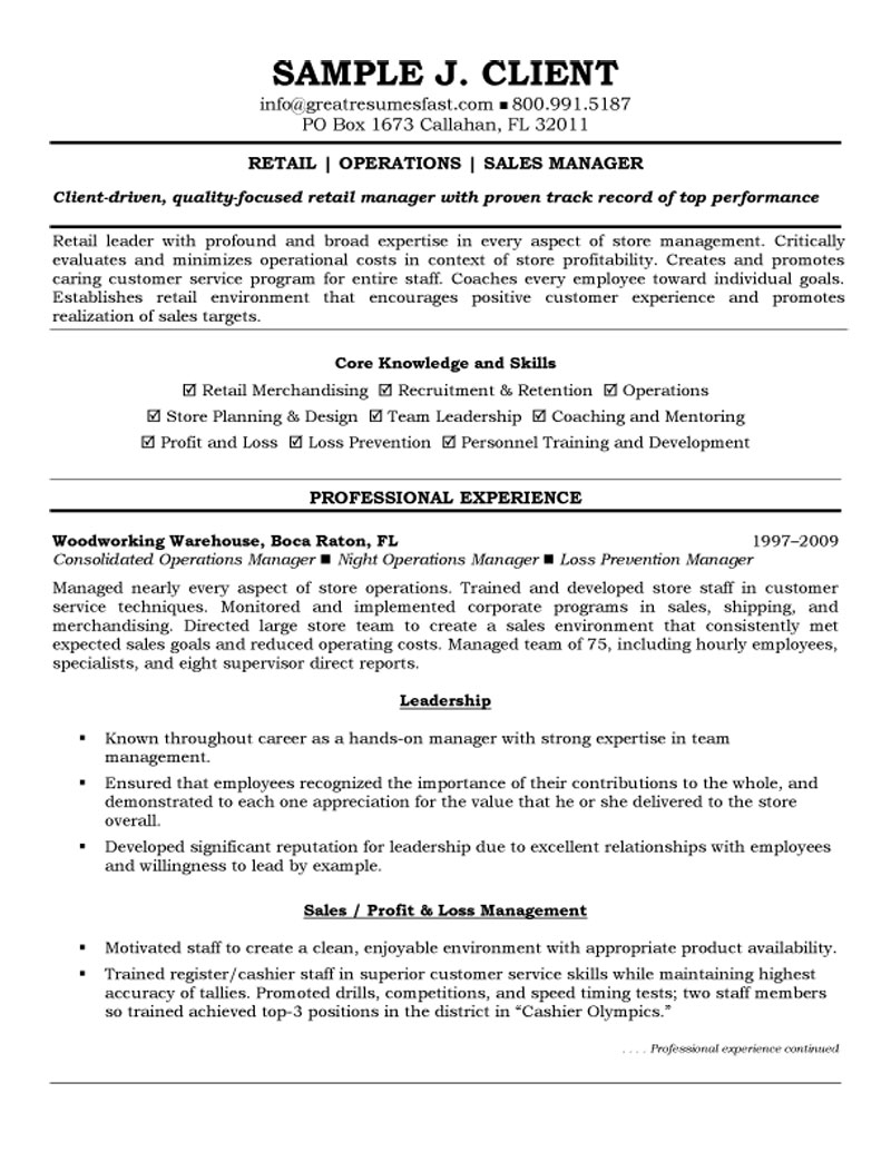 retail and operations manager customer service resume