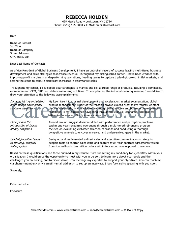 Sample Cover Letter For Job Interest as competitive as an executive level job search is you have to commit fully to the job hunt