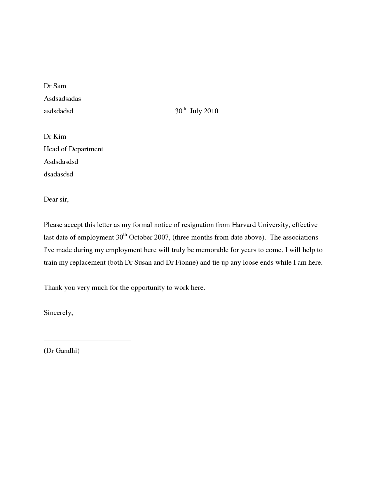 12 free formal sample of resignation letter