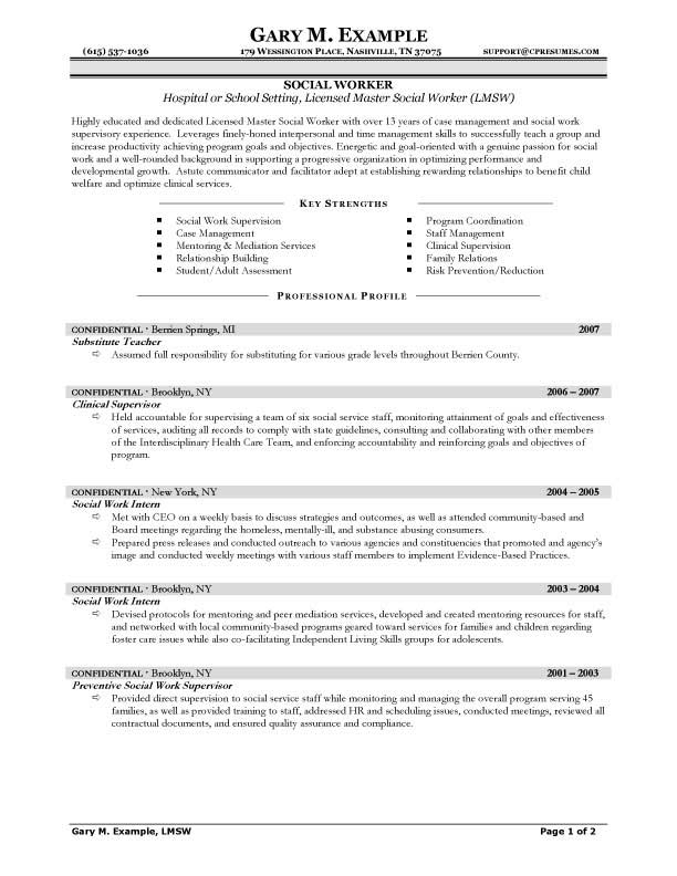 sample hospital social work resume examples and sample school setting social work resume examples mater lic3ensed - Objective For Social Work Resume