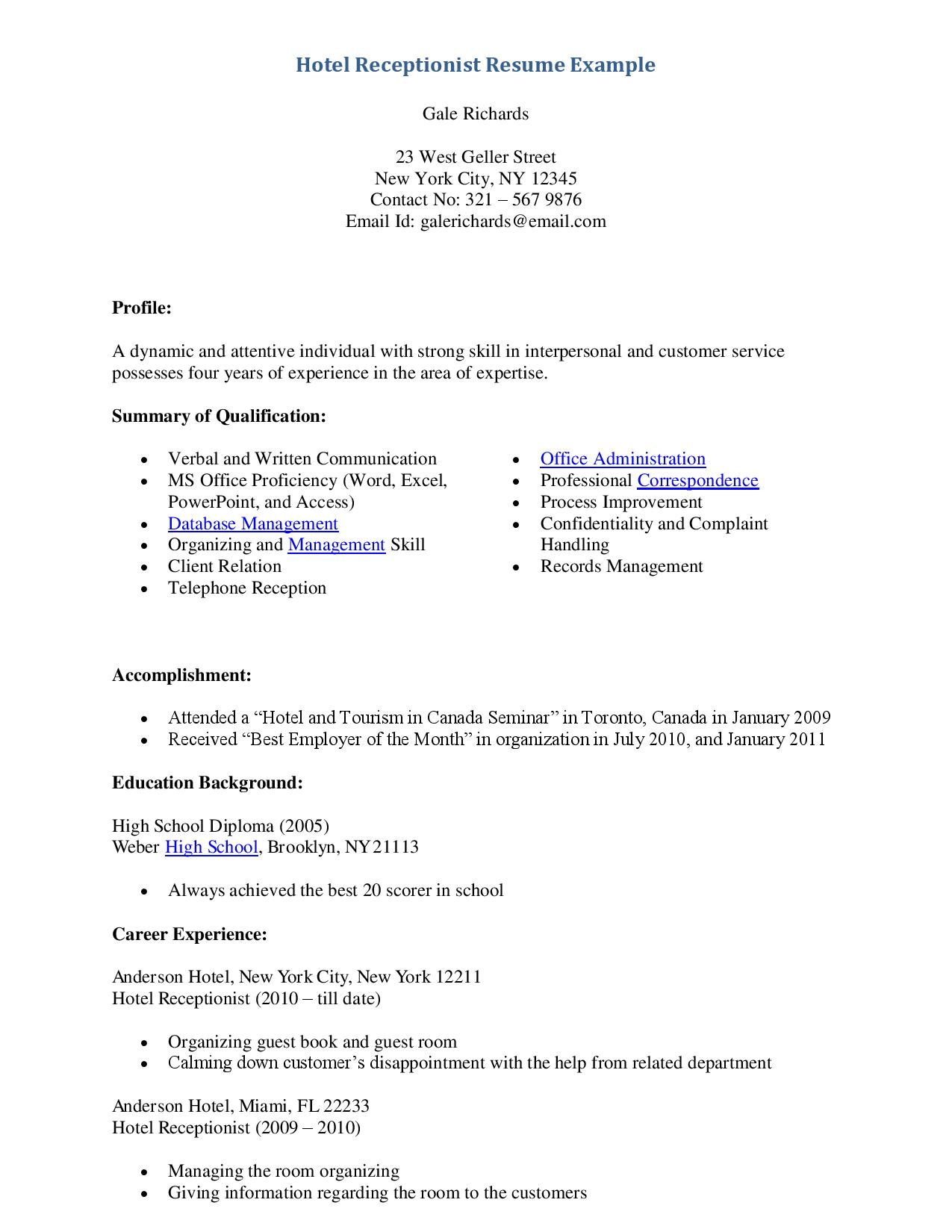 hotel receptionist resume samples - Sample Resume Format For Hotel Receptionist