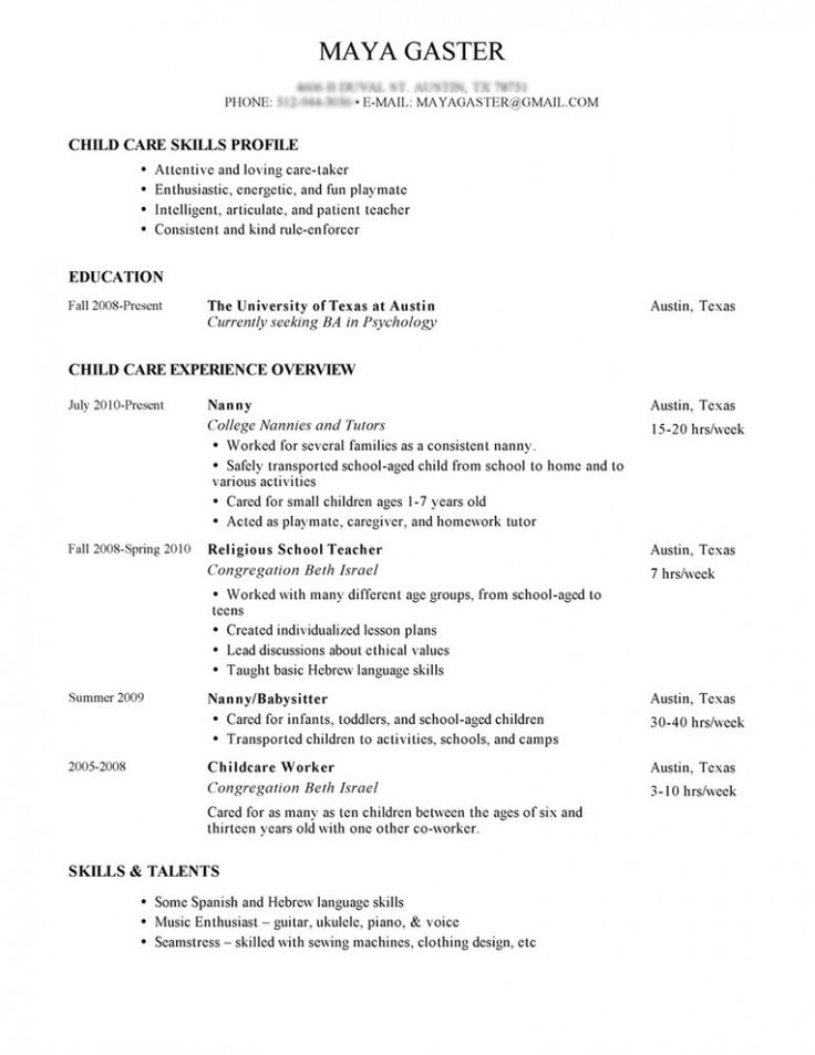 Sample Nanny Resume and Tips for Writing Nanny Resume Private Nanny Job Description