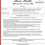 Sample Resume Templates 2016 Key Skills of receptionis