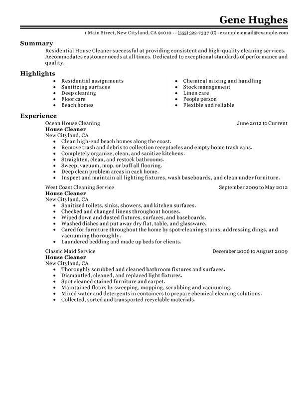 sle resume for cleaning person residential house