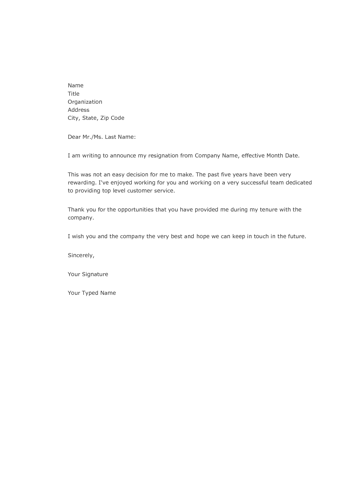 Sample of Resignation Letter to Employer