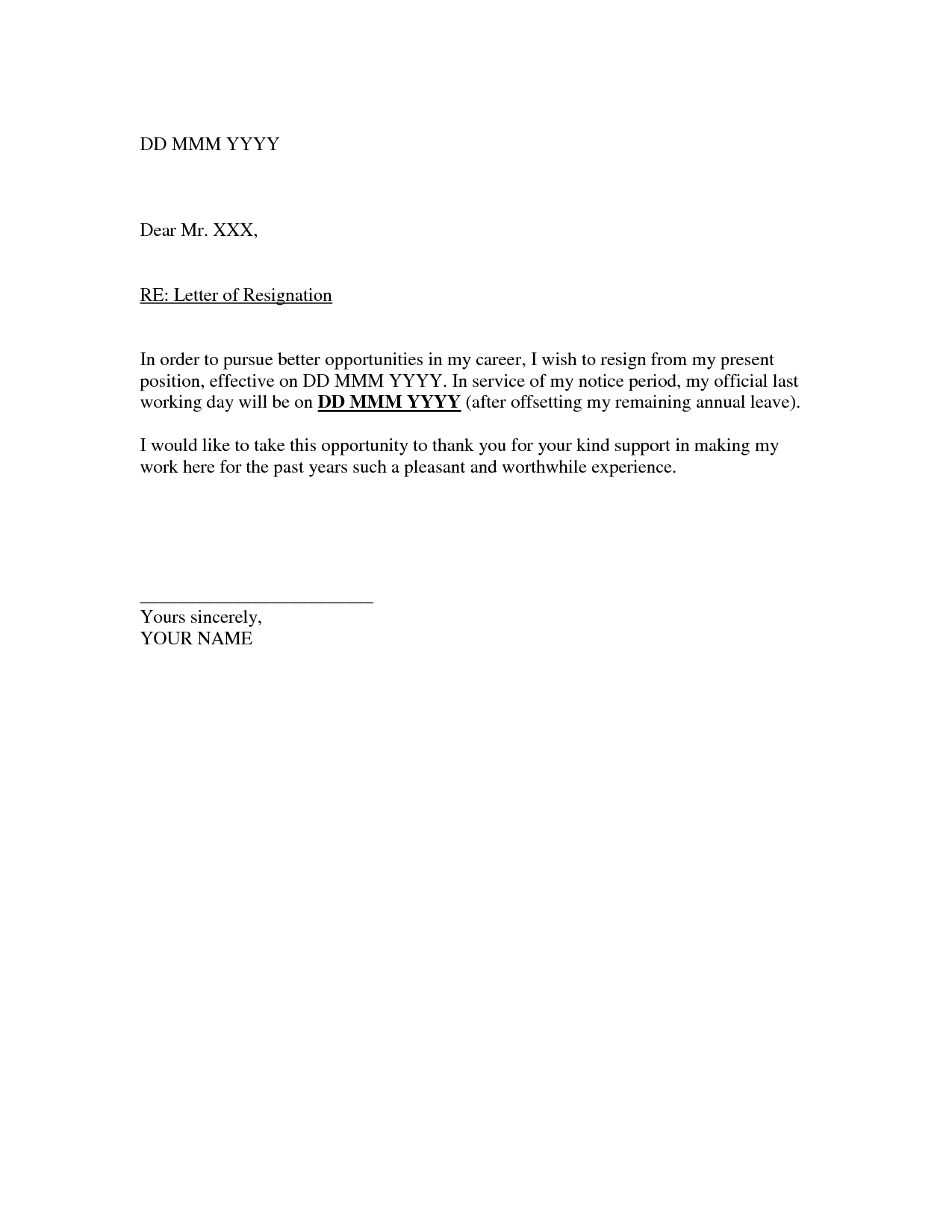 Short Notice Resignation Letter Sample Resignation Letter Template