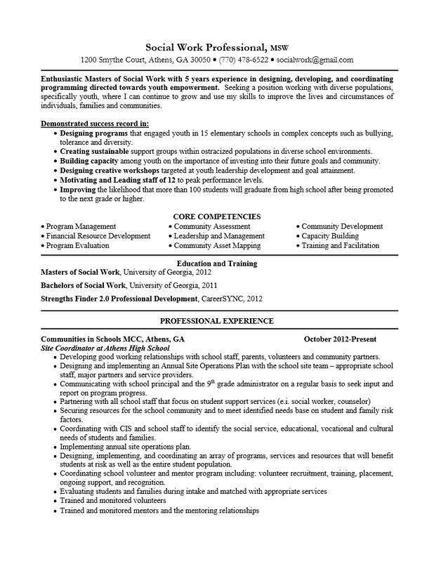 social work resume objective statement