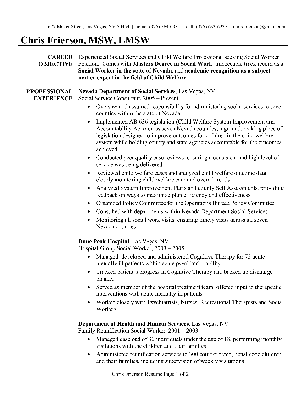 social work career objective - Social Worker Resume
