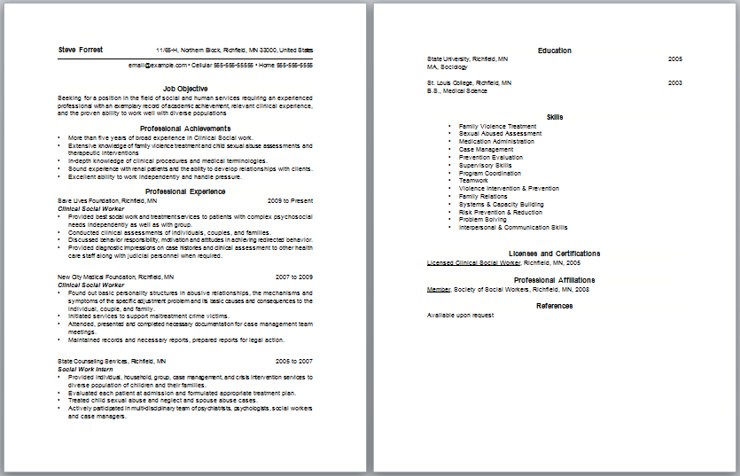 Social Worker Letter And Social Work Resume Objective