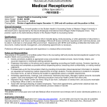 medical receptionist resume medical office receptionist job medical receptionist resume medical office receptionist job - Sample Medical Receptionist Resume