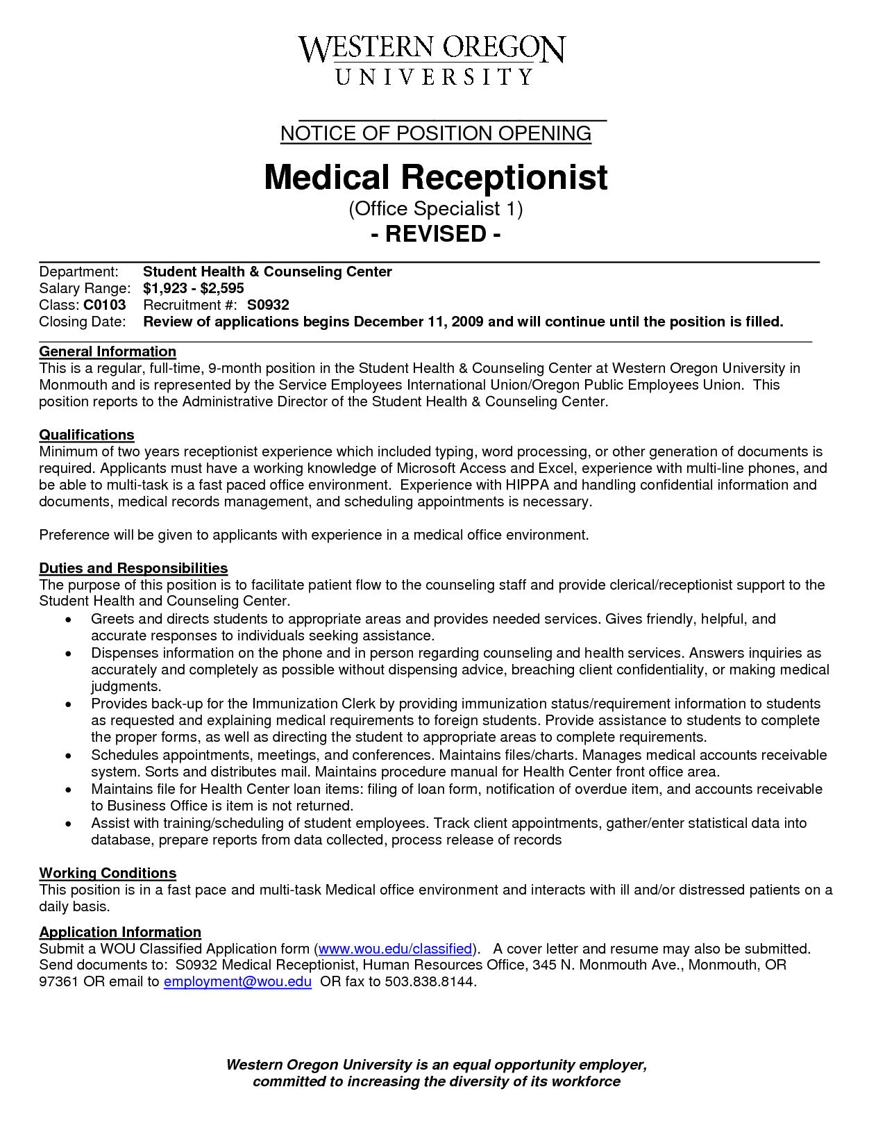 Specialist Medical Office Receptionist Resume Sample Student Health and  Counseling Center