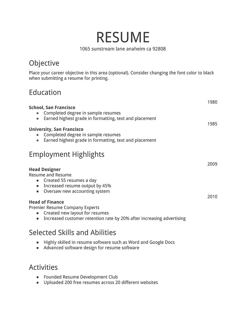 Free Basic Resume Examples Resume Builder Samplebusinessresume