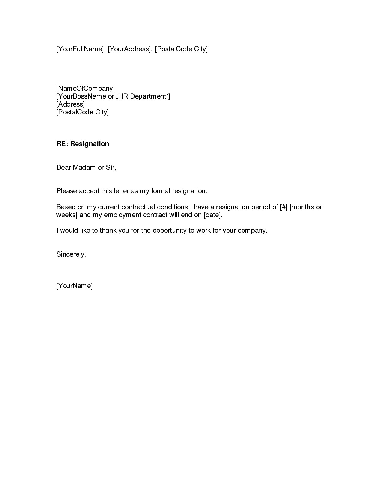 how to write easy simple resignation letter sample