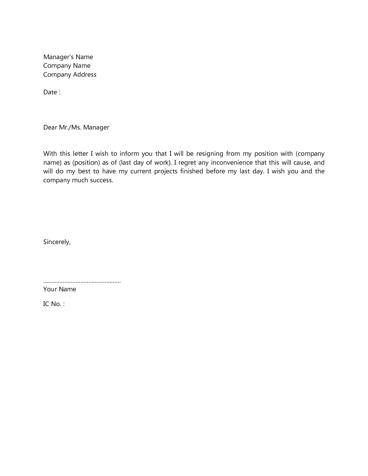 The Perfect Resignation Letter Simple resign letter format