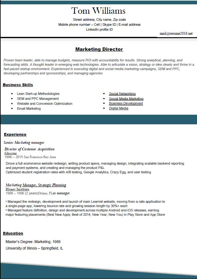 Top Resume Samples Resume Formats 2016 Marketing Director  Best Resume Formats