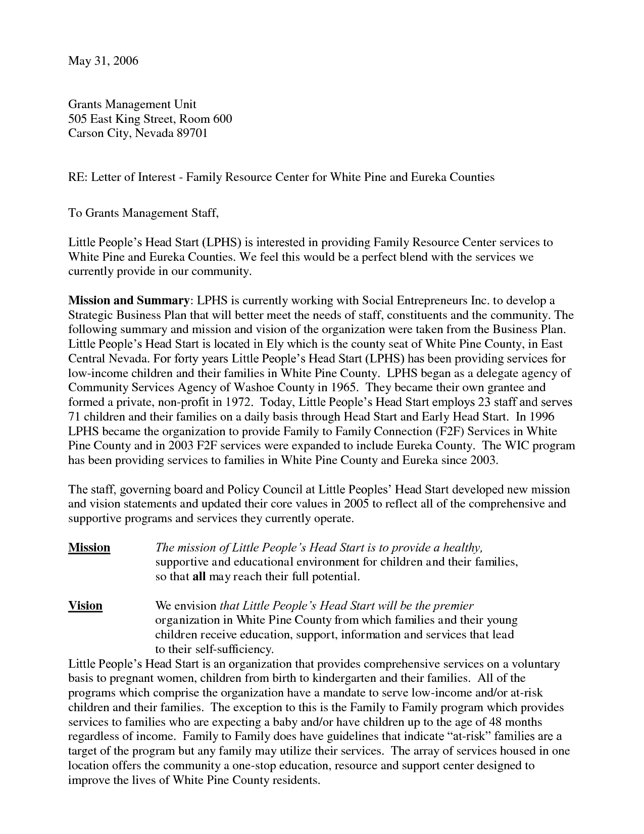Example of business letter of interest cover letter for Express of interest cover letter