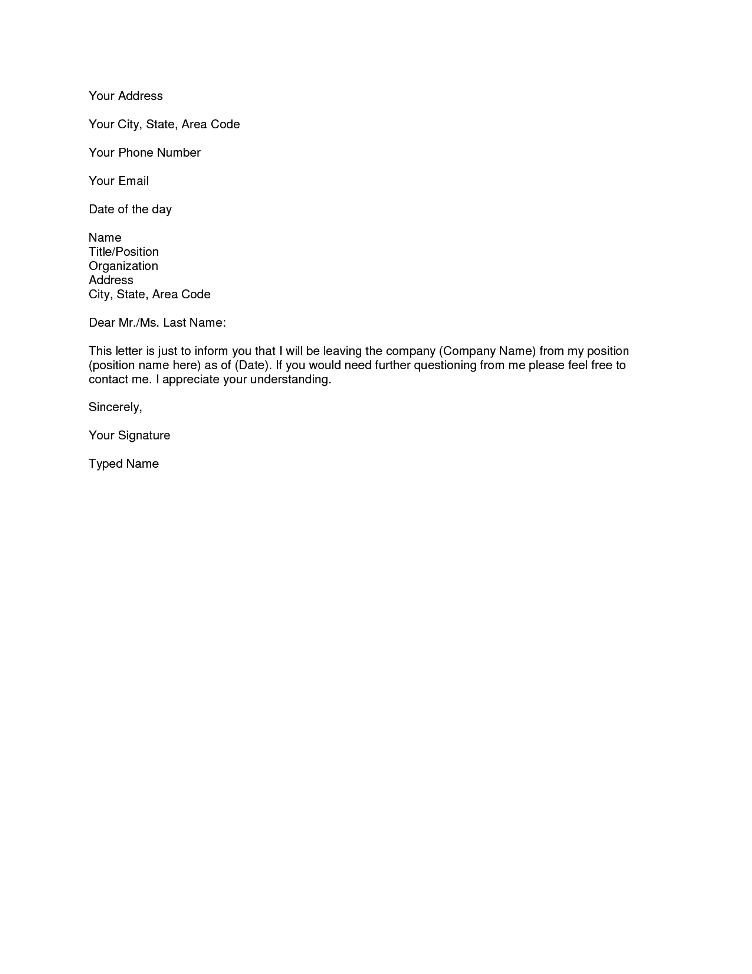 simple resignation letter 1 month notice simple resignation letter