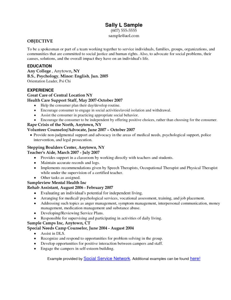 social work objective resume